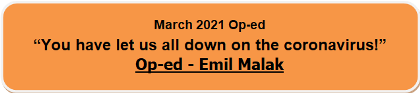 Emil Malak Op-ed March 2021, Coronavirus Vaccine