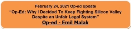 Emil Malak Op-ed Updated February 24, 2021, VOIP-PAL Patent Cases